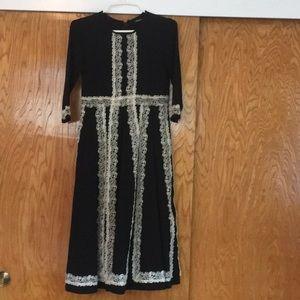 Eshakti Black Winter Midi Dress w/ Lace Trim